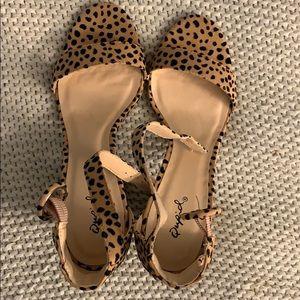 Forever 21 leopard sandal stripes heel